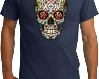 Men's Skull Shirt Sugar Skull with Roses Organic Tee T-Shirt WS-16553-PC50ORG