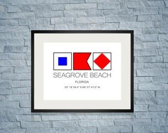 """SEAGROVE BEACH, Florida Nautical Flag Art Print  8"""" x 10"""" Or 11"""" x 14"""" Ocean Beach Cabin Lodge Coastal Decor Home"""