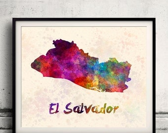 El Salvador - Map in watercolor - Fine Art Print Glicee Poster Decor Home Gift Illustration Wall Art Countries Colorful - SKU 1791