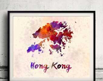 Hong Kong - Map in watercolor - Fine Art Print Glicee Poster Decor Home Gift Illustration Wall Art Countries Colorful - SKU 1815