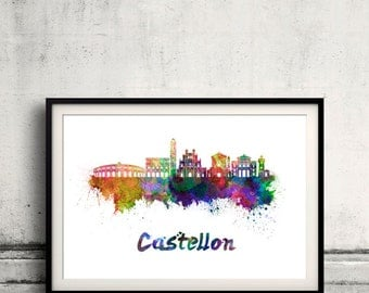 Castellon skyline in watercolor over white background with name of city - Poster Wall art Illustration Print - SKU 1875