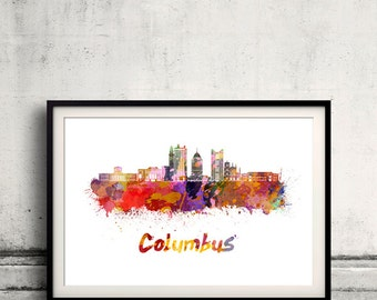 Columbus skyline in watercolor over white background with name of city - Poster Wall art Illustration Print - SKU 2076