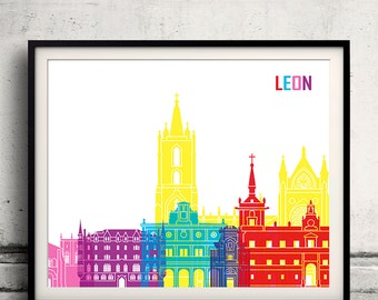 Leon pop art skyline 8x10 in. to 12x16 in. Fine Art Print Glicee Poster Gift Illustration Pop Art Colorful Landmarks - SKU 1139