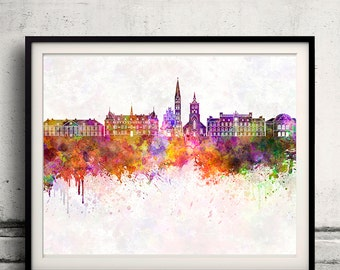 Odense skyline in watercolor background - Poster Digital Wall art Illustration Print Art Decorative - SKU 1416