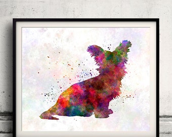 Sky Terrier 02 in watercolor - Fine Art Print Poster Decor Home Watercolor Illustration Dog - SKU 1445
