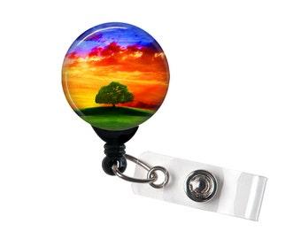Serenity Sunset, Retractable ID Badge Reel, Tree of Life