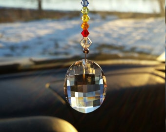 Rainbow suncatcher,  crystal suncatcher,  crystal car charm,  rear view mirror,  crystal decoration,  hanging crystal,  window decoration