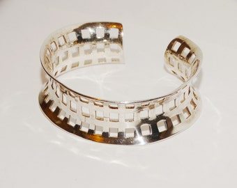 Vintage Sterling Stamped Cuff Bracelet.