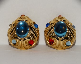 Vintage Gold tone Multicolor Cabochon Glass Gorgeous Earrings.