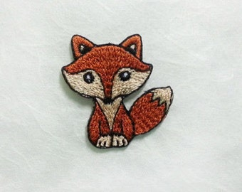 Brown Fox Iron On Patch (S) -  Brown Fox cute Applique Embroidered Iron on Patch