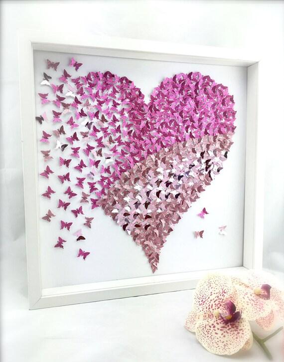 Paper butterfly 3d butterfly wall art butterfly heart - Schmetterlinge an der wand ...