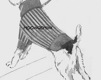 Knit Dog Sweater Coat Blanket for a Small Terrier Size Instant Download Knit