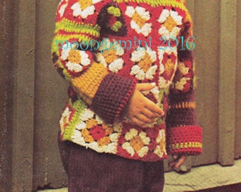 Crochet Sweater Pattern Peasant Granny Square Child's Pullover Instant Download