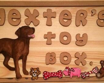 labrador dog toy box, cusomised wooden toy box, dog toy storage, pet toys, dog toys
