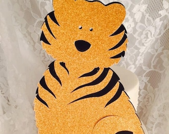 Tiger Cake Topper - Cupcake Toppers - Customized - Zoo - Baby Shower - Birthday Decorations - Wildlife Party - Baby Party - Decorations