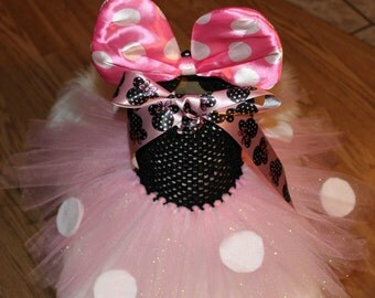 Pink Minie Mouse TuTu Dress, Minie Mouse Birthday, Baby Costume,Princess,Cute,Infant,Homemade,Halloween,First Birthday,Toddler,Ready To Ship