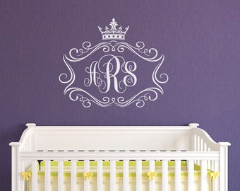 Initial Wall Decal Etsy - Monogram wall decals letters