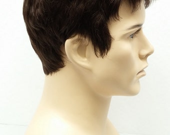 Brown Short Style Men's Wig. Synthetic Fashion Wig.