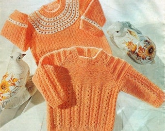 Baby Jumper Knitting Pattern - Two Styles - 16 to 18 inches