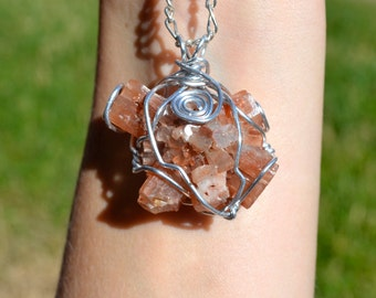 Aragonite Crystal Cluster Wire Wrapped Pendant