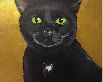 "Custom Acrylic Cat Portrait - 11""x14"""