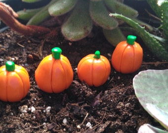 Set of 4: Handmade Fairy Garden Accessory, Orange Pumpkin Vegetable.  Made of Polymer Clay.  Great for Fall Harvest!