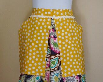 Women's half apron- Mustard and Paisley