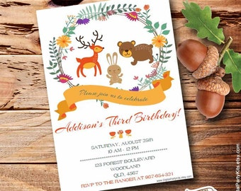 "Woodland Invitation | Forest Invitation - EDITABLE & PRINTABLE - Do It Yourself - Instant Download - 5x7""- by DigitalPartyKits (01)"