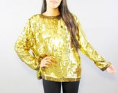 CLEARANCE! Vintage 70s 80s Gold Sequin Top // 1970s Costume 1980s Jacket Shirt Women's Size Large