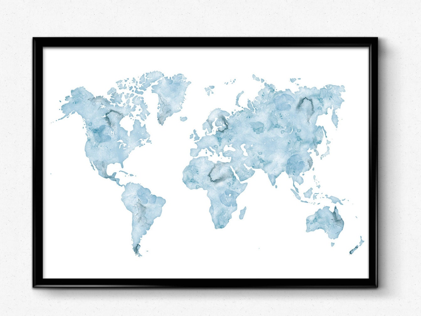 Large World Map Print 24x36 World map wall art Watercolor