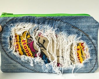 Upcycled Denim Zipper Pouch