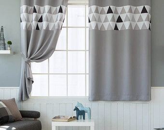 Triangles Patterned Blackout Curtains Grey Grommet Pair