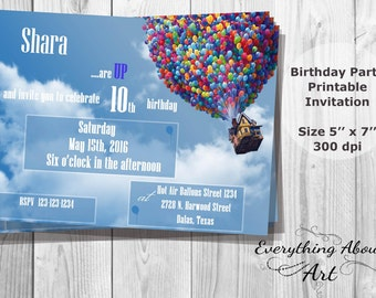 Up Birthday invitation, UP Party invites, Printable Invitation, Colorful Hot Air Balloons Invite, UP House Party invite, PERSONALIZED Invite