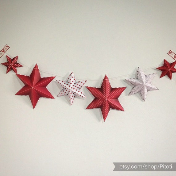 Party Decor Printable Party Decoration Diy Star Garland Red