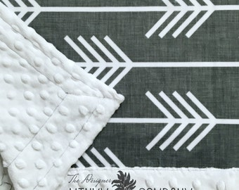 Minky Baby Blanket - Arrow, Grey and White