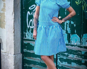 70s BLUE STRIPES DRESS