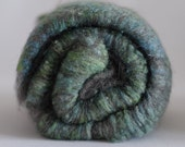 Art batts - grey gotland wool and handpainted silk, wild batt, texture, tweed - 100 gram / 3.5 oz in total