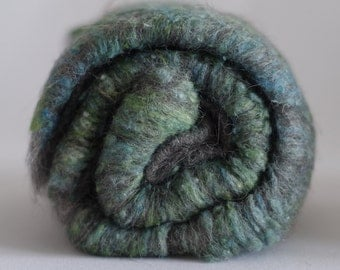 Art batts - grey gotland wool and handpainted silk, wild batt, texture, tweed - 100 gram / 3.5 oz in total