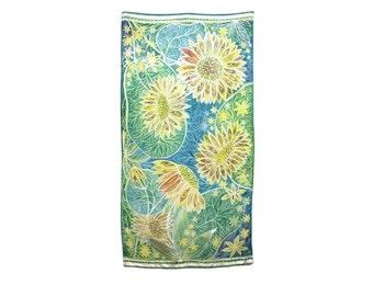 Batik wall art Oversize silk scarf Original painting on silk Big scarf Plus size scarf Silk shawl Oversize wrap  Sunflower art Floral silk