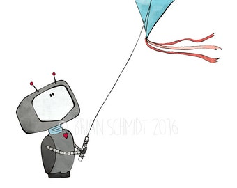 Robot Flying Kite Nursery Print - Cute Kids Room Art Decor, Robot Drawing