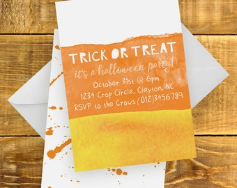 Watercolor Candy Corn Invitation | Halloween Invitation, Orange, Yellow, Typography, Halloween Party, Trick or Treat