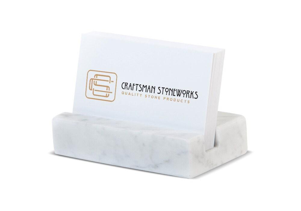 Business Card Holder White Carrara Marble Office Desk
