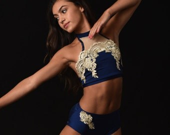 Navy contemporary dance outfit, no goldlace,  Dance Costume, Lyrical  Dance Costume, Custom Dance costume, solo dance costume