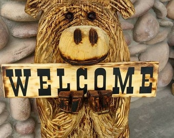 Moose with welcome sign