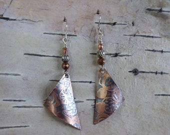 Triangle and Silver Drop Earrings
