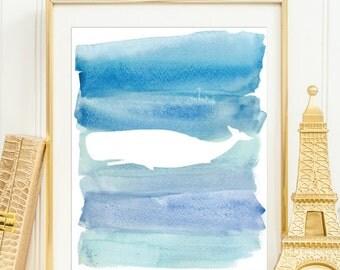 Whale Dark Blue Watercolor Silhouette Wall Decor Printable Wall Art Beach House Print Nautical Nursery Wall Decor Ocean Print