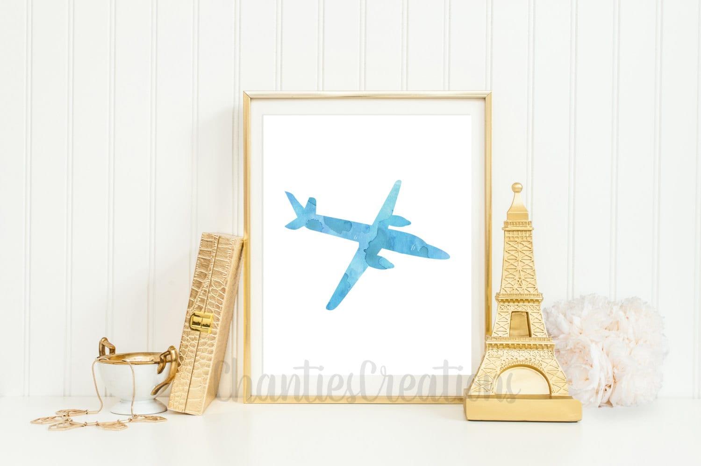 Vintage Airplane Printable Wall Art. Blue Watercolor Vintage