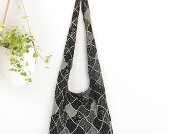 Geometric Print Shoulder Bag  Sling CrossBody Bag Messenger Bag Cotton Bag Hippie Boho Style Handmade Black