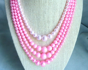 Shades of Pink Four Strand Vintage Necklace Signed Japan - Excellent Condition