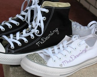 Wedding Chucks, Bride Chucks, Groom Chucks, Custom Chucks, Custom Chuck Taylors, Custom Toms, Wedding Toms,
